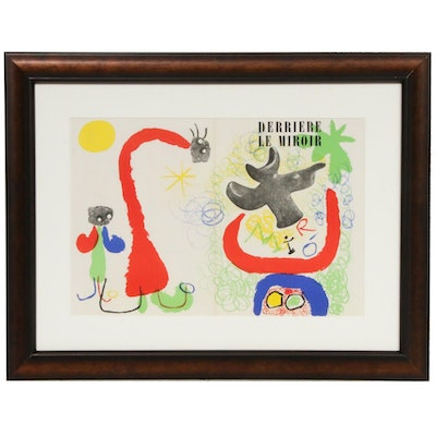 "Joan Miró Double-Page Cover Color Lithograph for ""Derrière le Miroir,"" 1950"