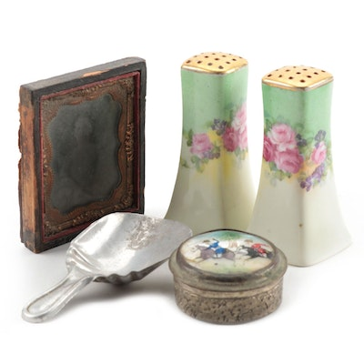 Stouffer Hand-Painted Porcelain Shakers with Tintype Portrait and More
