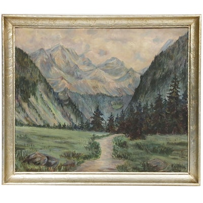 Mountain Creek Landscape Oil Painting, Early 20th Century