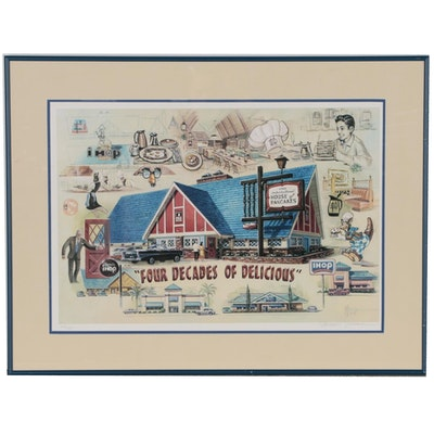 """Michael Young Offset Lithograph of Ihop Restaurant """"Four Decades of Delicious"""""""