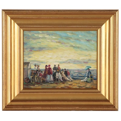 Seaside Oil Painting, Late 20th Century