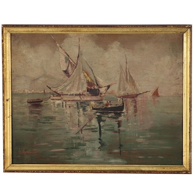 Nautical Oil Painting, Early 20th Century
