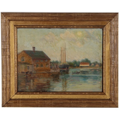 Ellen Starbuck Oil Painting of Harbor Scene