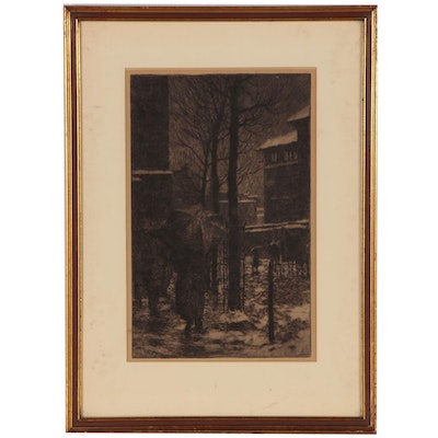 "Edward Timothy Hurley Street Scene Etching ""A Rainy Day"", Early 20th Century"