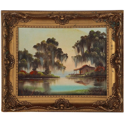 Charles Handford Oil Painting of a Bayou