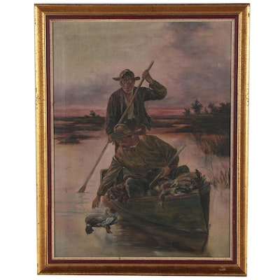 Oil Painting of Duck Hunters in Canoe
