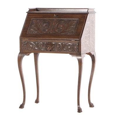 Late Victorian Carved Oak Slant-Lid Desk, Early 20th Century