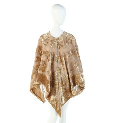 Velvet Burnout Button Front Poncho