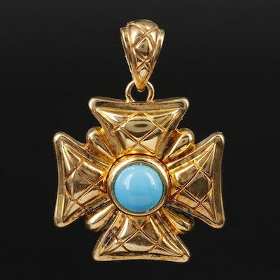 Veronese Sterling Silver Glass Maltese Cross Pendant