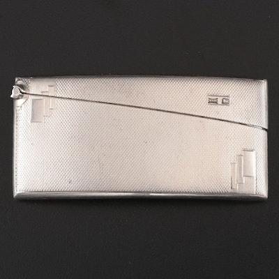 Walker & Hall Art Deco Curved Sterling Silver Card Case, Sheffield, 1931