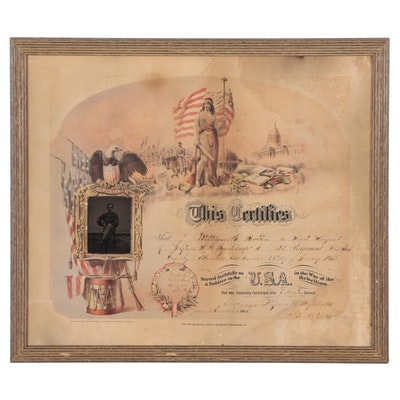 Commemorative Civil War Soldier Discharge Paper with Tintype Photograph