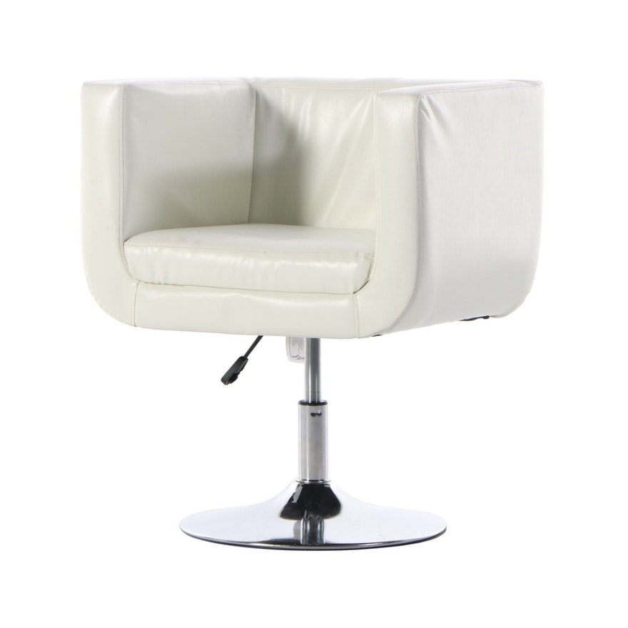 Vidaxl Faux Leather Upholstered Swivel Arm Chair on Chrome Plated Base