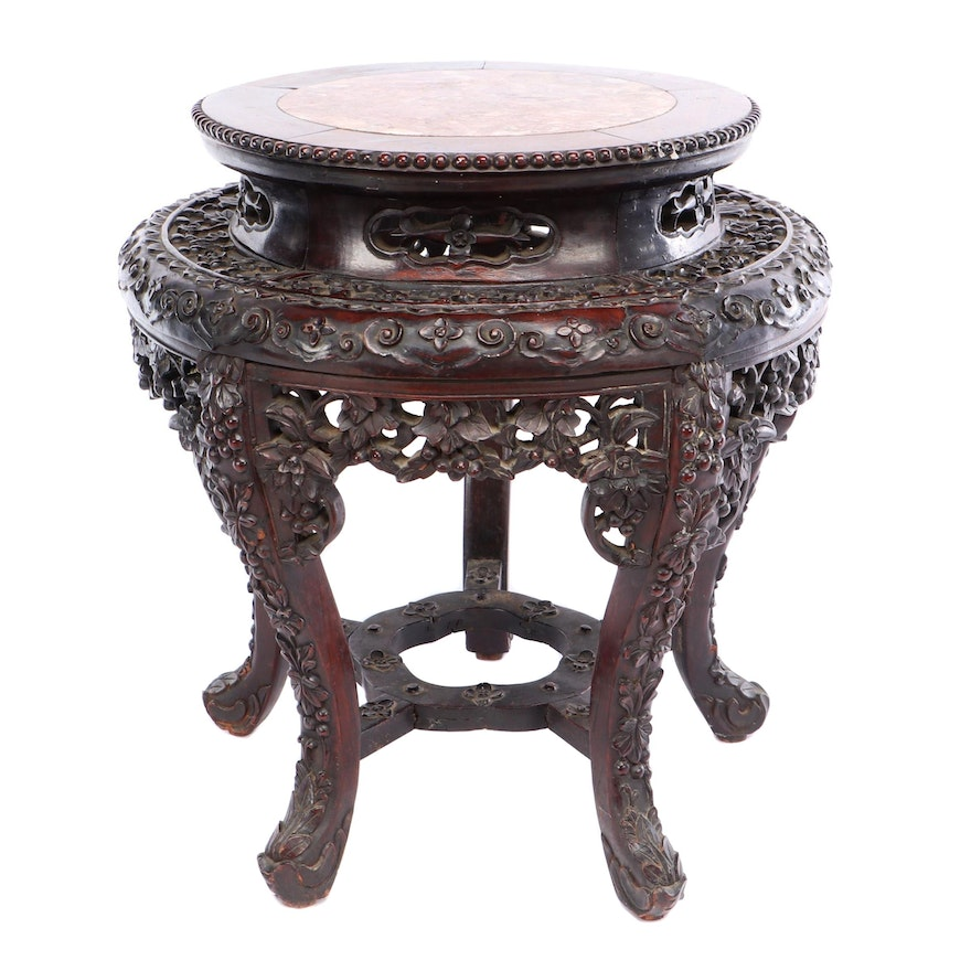 Chinese Carved Rosewood and Rouge Marble Low Table or Plant Stand, 19th C.