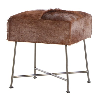 Renwill Cowhide Upholstered Stool on Chrome Frame