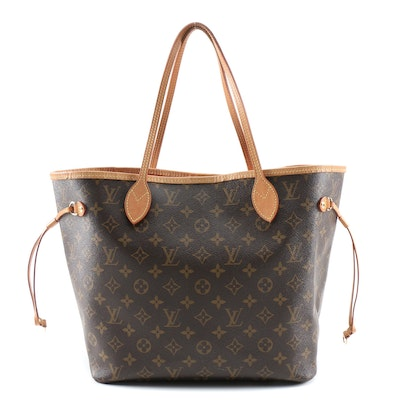 Louis Vuitton Neverfull MM Bag with Pochette in Monogram Canvas and Leather
