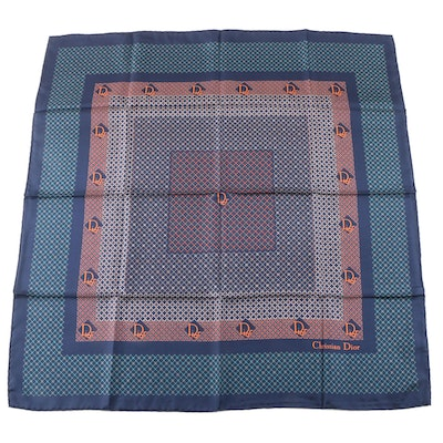 Christian Dior Lattice Print Silk Twill Scarf