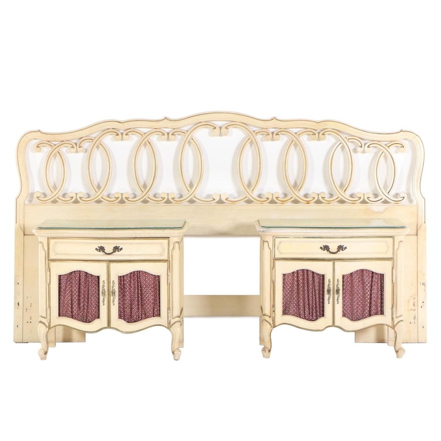 Thomasville Pair of Painted Nightstands and King Headboard, Mid-20th Century