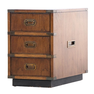 Brandt Campaign Style Pecan-Stained Bedside Chest of Drawers, Late 20th Century