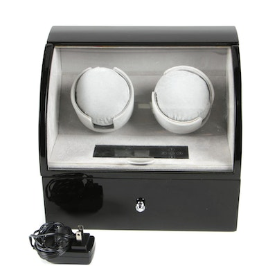 Contemporary High Gloss Dual Watch Winder Case with Storage Drawer