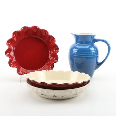 Le Creuset and Emile Henry Stoneware Pitcher and Bakeware with Longaberger
