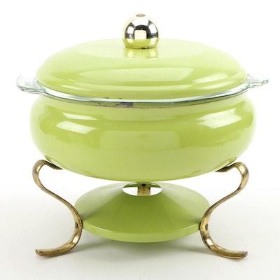 Enamel Fondu Pot with Anchor Hocking Glass Dish Insert, Mid-20th Century