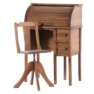Paris Mfg. Co. Child's Birch Roll-Top Desk and Chair, 1940s