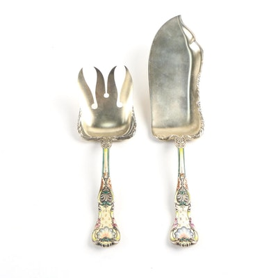 "Gorham ""King George"" Enameled Sterling Fish Serving Set"