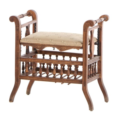 Victorian Walnut Bench with Adjustable Seat, Late 19th Century