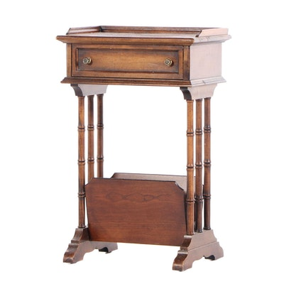 Regency Style Walnut-Stained Side Table with Magazine Rack, 1970s