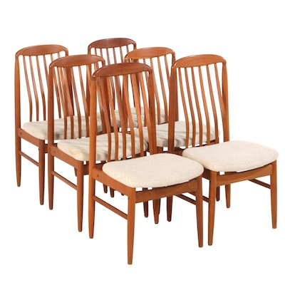 Six Benny Linden Danish Modern Teak Dining Chairs