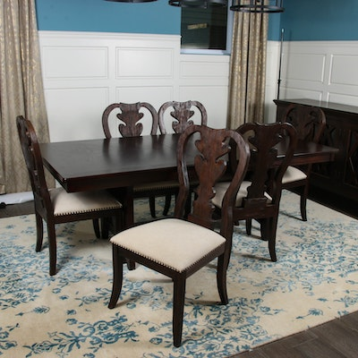 Mission Style Mahogany-Stained Dining Table with Carved Wood Chairs