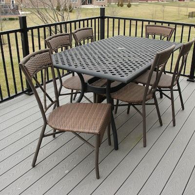 Outdoor Metal Dining Table with Panama Jack Woven Resin and Aluminum Chairs