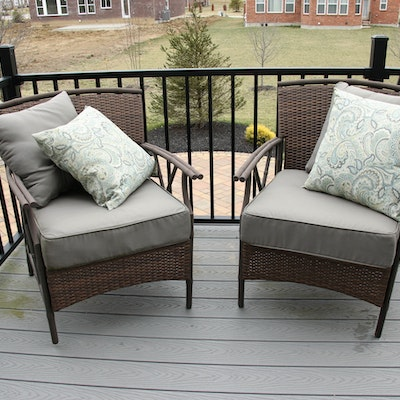 Panama Jack Woven Resin and Aluminum Patio Armchairs with Cushions
