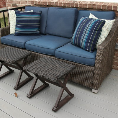 Woven Resin Patio Sofa with Weather Resistant Cushions and Side Tables