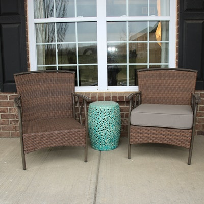 Woven Resin Patio Armchairs with Ceramic Lattice Side Table