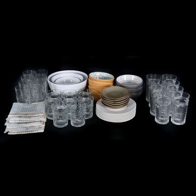 Drinkware, Ceramic Bowls and Dish Towels Including Libby and Pfaltzgraff