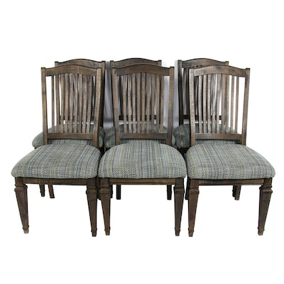 Walnut-Stained Dining Chairs with Slat Backs and Woven Upholstered Seats