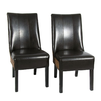 Woven Wicker Dining Chairs with Faux Leather Upholstery