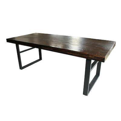 Wood Tile Dining Table with Metal Base, Contemporary