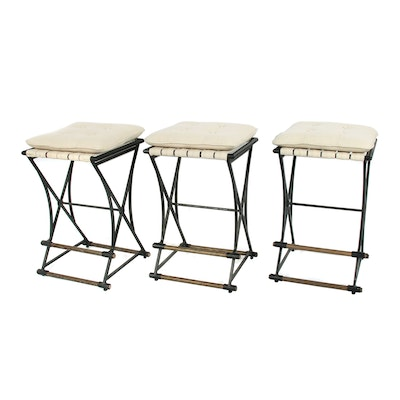 Industrial Style Metal Stools with Button-Tufted Fabric Seats