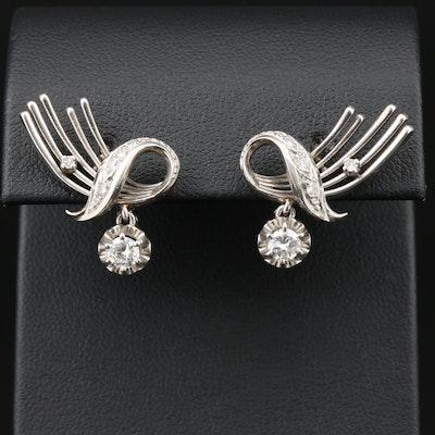 Retro Platinum Diamond Earrings