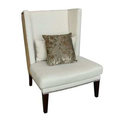 Burlap and Linen Upholstered Side Chair with Nail Head Details
