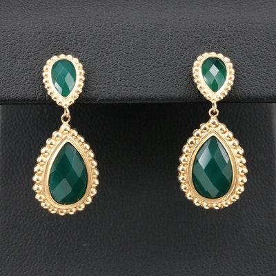 14K Yellow Gold Green Chalcedony Drop Earrings