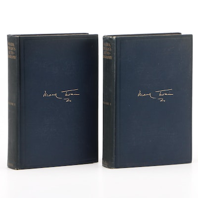 """First Edition """"Autobiography"""" by Mark Twain in Two Volumes, 1924"""