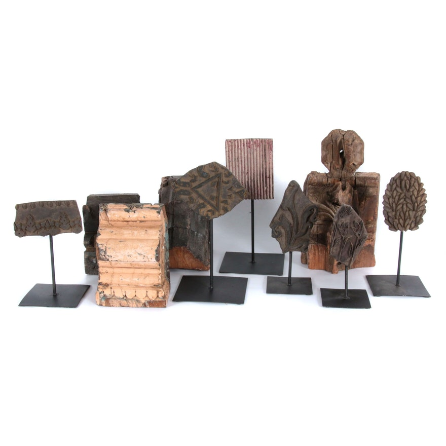 Hand-Carved Ledge Shelves and Free-Standing Sculptures