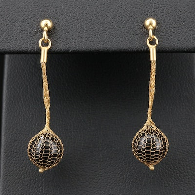 14K Yellow Gold Black Onyx Woven Mesh Earrings