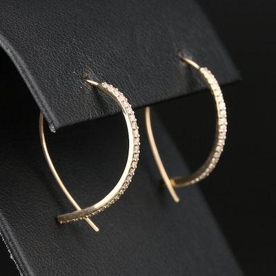 Lana Jewelry 14K Yellow Gold Diamond Upside Down Hoop Earrings