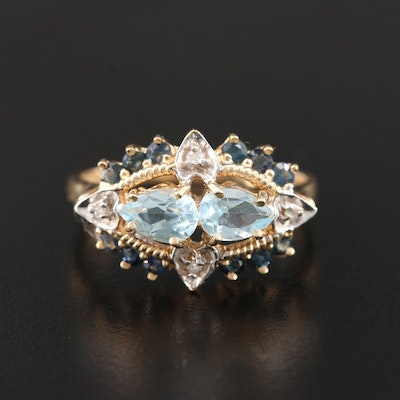 14K Yellow Gold Blue Topaz, Sapphire, and Diamond Ring with White Gold Accent
