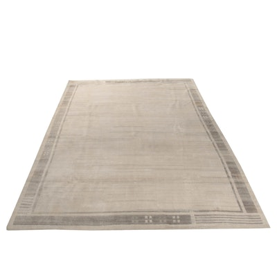 9'9 x 13'6 Hand-Knotted Wool Room Size Rug, Contemporary