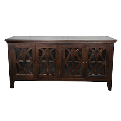 Walnut-Stained Wooden Sideboard with Lattice Framed Glass Doors